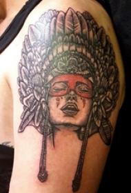 印第安人纹身 男生手臂上印第安人纹身素描图片