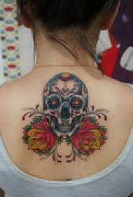 艺术骷髅背部纹身