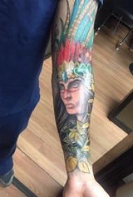 印第安人纹身 男生手臂上印第安人纹身经典图案