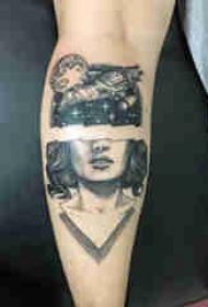 小腿对称纹身 男生小腿上宇宙和人物纹身图片