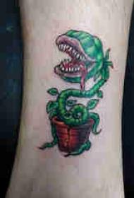 植物纹身 男生小腿上彩色的食人花纹身图片