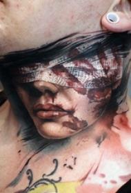 颈部纹身设计 男生颈部彩色的人物纹身图片