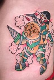 机器人纹身 男生侧腰上机器人纹身图片