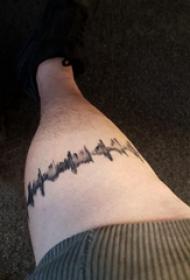 心电图纹身图片 男生小腿上心电纹身图片