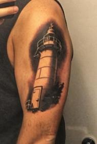 大臂纹身图 男生大臂上黑色的灯塔纹身图片