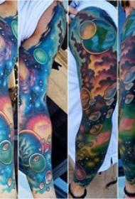星空纹身图 男生手臂上原宿星空纹身图片
