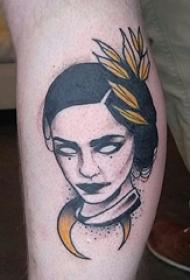 欧美小腿纹身 男生小腿上叶子和人物纹身图片