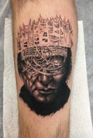 人物肖像纹身 男生小腿上皇冠和人物纹身图片
