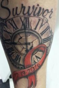 纹身钟表 男生手臂上怀表纹身图案