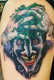 双大臂纹身 男生大臂上彩色的小丑纹身图片