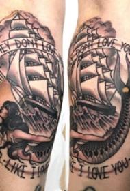 小腿对称纹身 男生小腿上美人鱼和帆船纹身图片