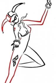 小丑纹身 多款简单线条纹身素描小丑女纹身手稿