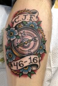 纹身指南针 男生小腿上指南针纹身图片