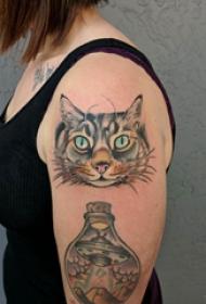 双大臂纹身 女生大臂上飞碟和猫咪纹身图片