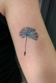 蒲公英纹身 女生手臂上彩色的蒲公英纹身图片