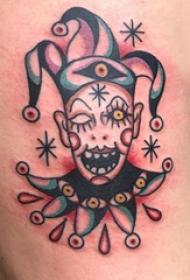 小丑纹身 男生大腿上有趣的小丑纹身图片