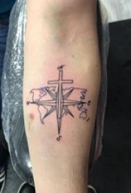 纹身指南针 女生手臂上指南针纹身图片