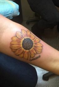 向日葵纹身图片 男生手臂上向日葵纹身图片