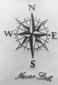 纹身指南针 男生背部指南针纹身图片