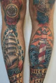腿部纹身 男生小腿上帆船和灯塔纹身图片
