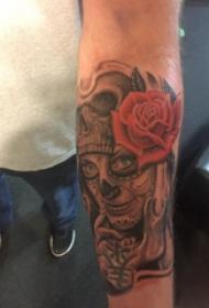 恐怖纹身  男生小臂上恐怖的骷髅纹身图片