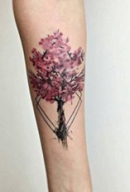 樱花花瓣纹身 多款小清新文艺纹身彩色樱花纹身图案