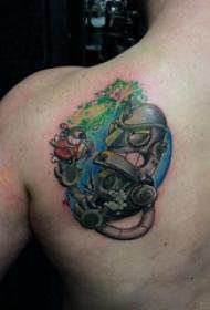 机器人纹身 男生后背上彩色的机器人纹身图片