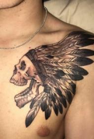 骷髅纹身 男生胸部黑色的印第安骷髅纹身图片