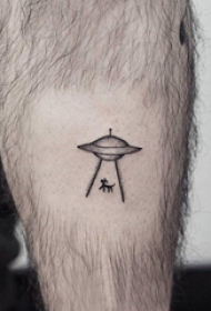 飞碟纹身图案 男生小腿上动物和飞碟纹身图片