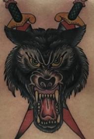 滴血狼头纹身  男生胸上狼头和匕首纹身图片