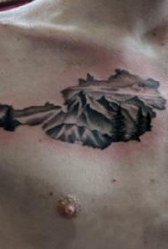 山脉纹身 男生锁骨上黑色的山脉纹身图片