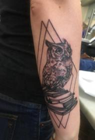 猫头鹰纹身图 男生手臂上菱形和猫头鹰纹身图片