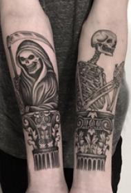 死神纹身  男生小臂上死神和骷髅纹身图片