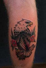 欧美小腿纹身 男生小腿上花朵和老鹰纹身图片