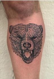 百乐动物纹身 男生小腿上黑色的熊纹身图片