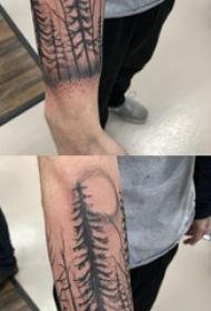 纹身树枝 男生手臂上黑灰色的树纹身图片