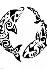 纹身海豚  灵动可爱的海豚纹身手稿图案
