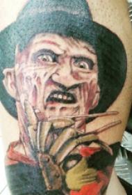 恐怖纹身  男生小腿上彩绘的人物肖像纹身图片