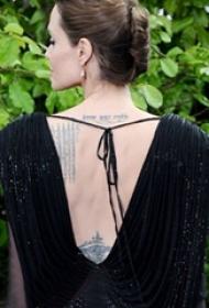 泰国法力纹身  明星后背上英文和泰国法力纹身图片