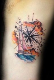 指南针纹身  明辨方向的指南针纹身图案