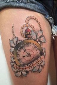 钟表纹身图案  工艺复杂的钟表纹身图案