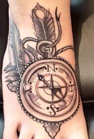 纹身指南针 别致的几何元素指南针纹身图案