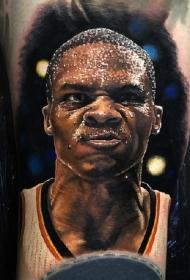 几张优秀的NBA球星肖像纹身图案作品
