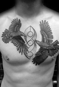 乌鸦纹身图   多款色调阴沉的乌鸦纹身图案