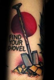 纹身工具   创意而又别致的铲子纹身图案