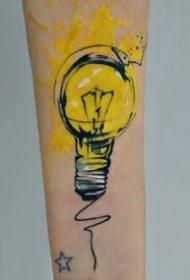 水彩纹身图案-简单又文艺的彩色纹身小图案
