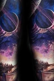 星空星球纹身图案_9张梦幻星球星空宇宙的纹身图案图片作品