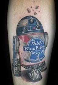 彩绘纹身图案-彩绘水彩素描描绘的创意有趣机器人纹身图案