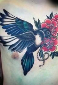 喜鹊纹身图_10张小鸟喜鹊的纹身图案作品图片