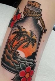 椰子树纹身图案-夏日气息十足的文艺精美椰子树纹身图案